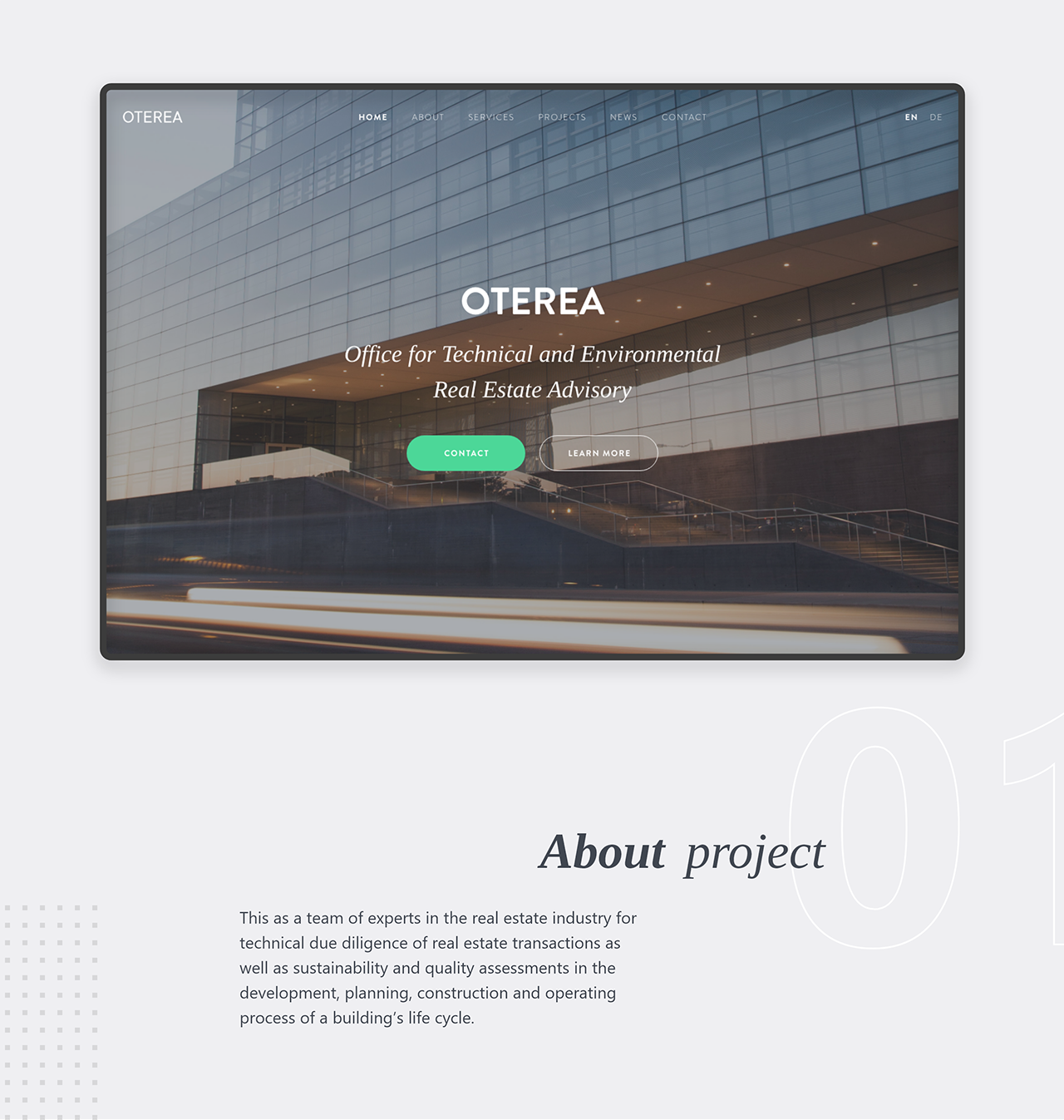 oterea website homepage